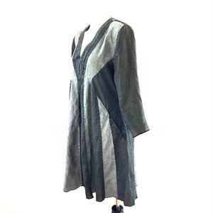 Linen Gray Black Long Sleeve Dress Lagenlook sz S